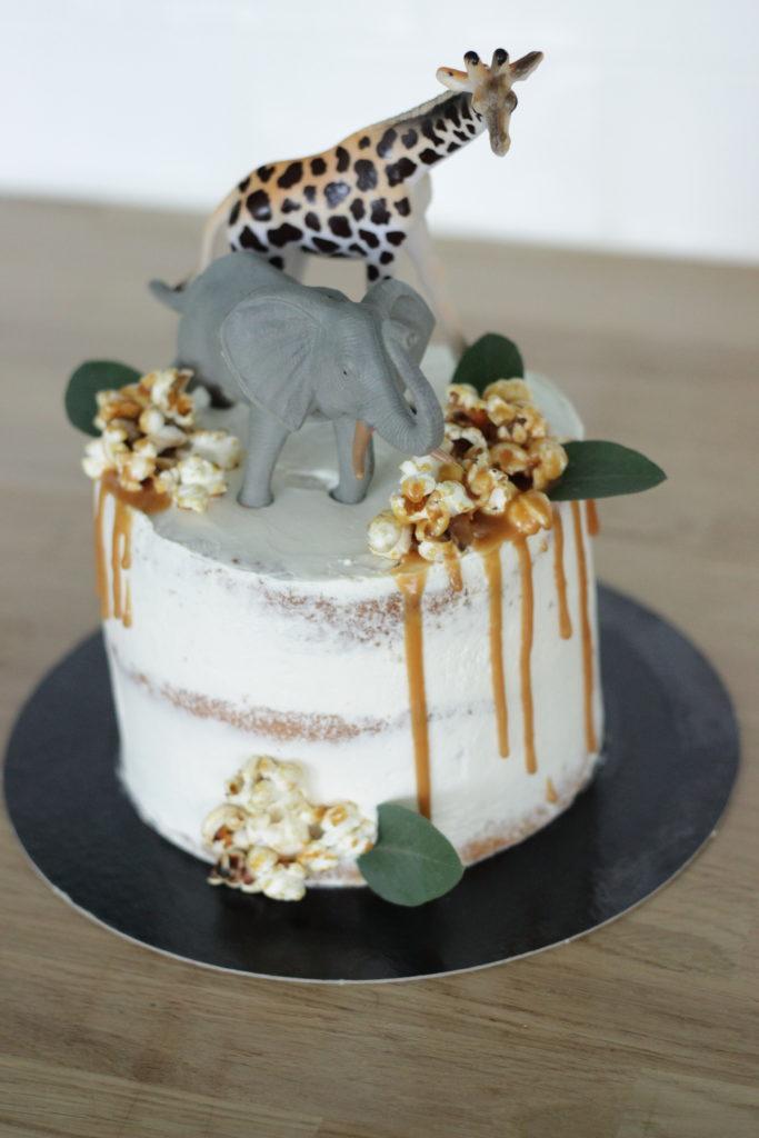 Naked cake thème jungle
